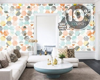 Geometric Hexagon Removable Wallpaper Multi-colored Self Adhesive Honeycomb Wall Mural Colorful Vintage Wall Sticker Mint Blue Orange