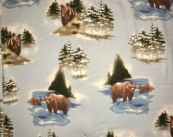 Flannel Bear Fabric, Flannel Brown Bear Fabric, Flannel Nature Fabric, Flannel Fabric, Winter Bear Flannel Fabric, Flannel Woods Fabric
