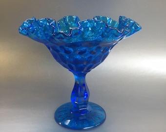 Aquamarine Blue Pedestal Ruffled Glass Bowl Centerpiece Vintage
