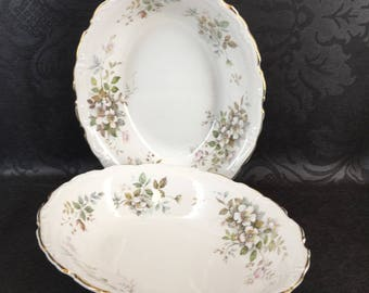 1 of 2 Royal Albert England Haworth Oval Serving Bowls Gold Trim Bone China