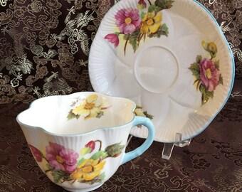 Shelley Begonia Bone China Tea Cup and Saucer England