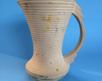 "6 1/2"" Shabby Chic Antique Regent Art Deco Pottery Pitcher Jug Juice Water"