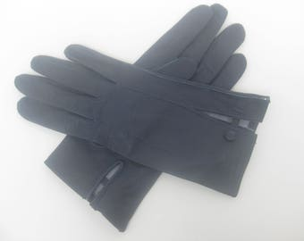 Vintage - dklblaue leather gloves