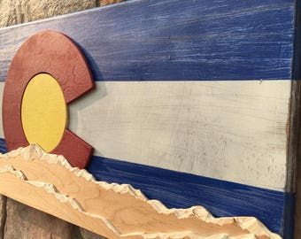 Rustic Colorado Flag- Carved Mountains FREE SHIPPING