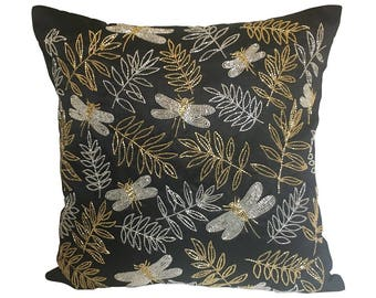 Black Throw Pillow Cover, Dragonfly Pillow