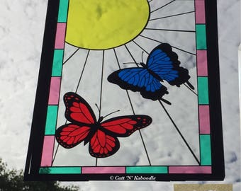 Papercut Butterfly stained glass effect panel