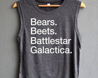 Bears Beets Battlestar Galactica Shirt The Office Tank top Shirt Muscle Tank Top Womens
