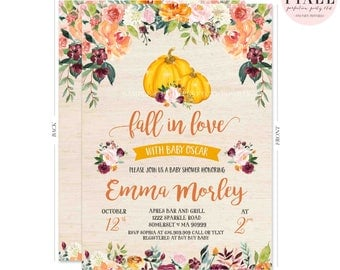 Fall In Love Baby Shower Invitation Fall Pumpkin Baby Shower Invitation Gender Neutral Pumpkin Baby Shower Watercolor Floral Pumpkin Shower