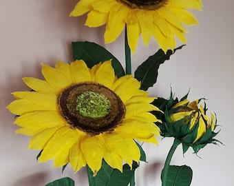 Alice in Wonderland , Wedding photo prop Self standing Sunflowers, Giant paper sunflowers, Party garden decor, free standing sunflowers