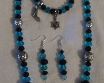 """26""""L Black Agate and Aqua Blue Crystal Necklaces with Earrings"""