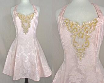 80's Prom Dress    80's Pink Brocade Halter Style Mini Prom Dress 80's Party Dress Size Medium