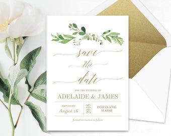 Garden Greenery Save the Date Template, Printable Save the Date Card, Wedding Save the Date, Editable Text, 5x7, Gold Garden