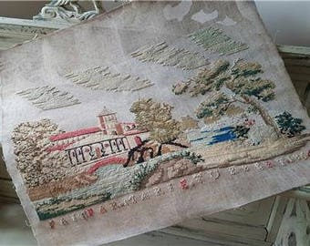 Stunning 19thC Stunning Antique French Sampler / Marquoir-Incredible Detail & Colour c.1864