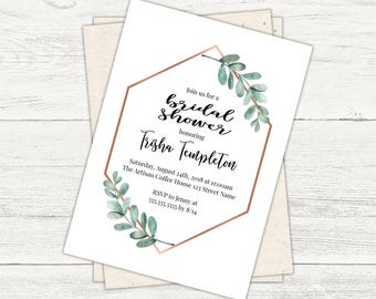 Modern Eucalyptus and copper Bridal shower invitation