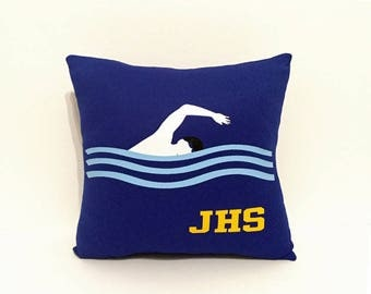 Swim team gifts, personalized swimmer pillow, swimmer bedding