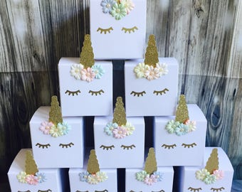 Unicorn cupcake boxes, party favours, gift boxes/ bags handmade