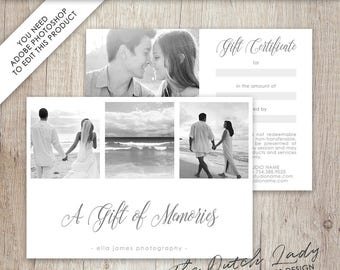 Photography Gift Certificate Template - Photo Gift Card - Design #3 - INSTANT DOWNLOAD - Layered .PSD Files