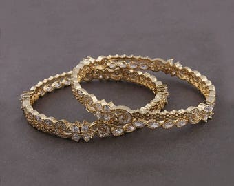 VALENTINE DAY SALE 2 Pcs 24 Ct Gold Plated Cubic Zirconia Bangle - Best Quality 24 Ct Gold Plated Bangle Size:2.5 Cz035