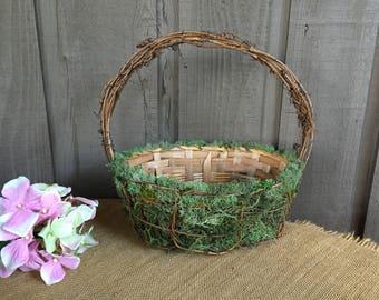 Woodland Flower girl basket/ moss basket/ program basket/ moss with trellis wedding basket/ moss flower girl basket/rustic wedding accessory