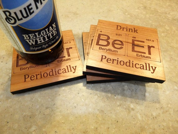 Periodic Table Inspired Drink Beer Periodically Wooden Coasters. Available in Cherry. Living Room-Home Decor-Home Bar-Bar Decor