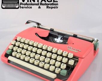 Vintage Olympia Splendid 33 Pink Typewriter Serviced Working Ribbon portable