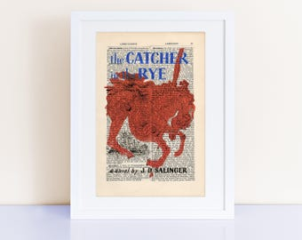 The Catcher in the Rye by JD Salinger Print on an antique page, book lovers gifts, bookish gifts