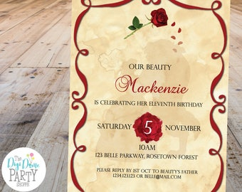 Belle Beauty Printable Party Invitation, 5x7in - Red Roses and Parchment - Instant Download - Girls Birthday Parties