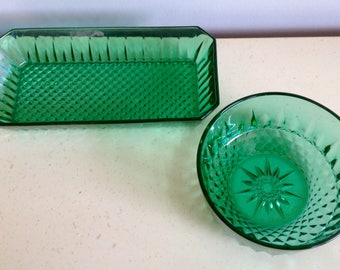 Vintage Arcorac French Glass in Green. One Bowl and One Dish/Tray. Decorative. Collectible.