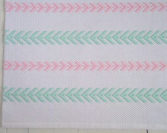 4x6 Nursery Area Rug, White, Mint, Pink Cotton Rug, Scandinavian Nursery Rug, Handmade Rug, Reversible, Woven on the Loom, Made to Order