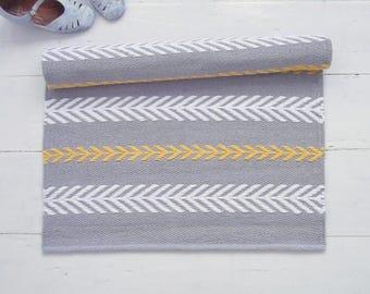 Grey, White, Yellow Rug, Scandinavian Nursery Rug, Small Cotton Rug, Modern Rag Rug, Handmade, Woven on the Loom, Ready to Ship