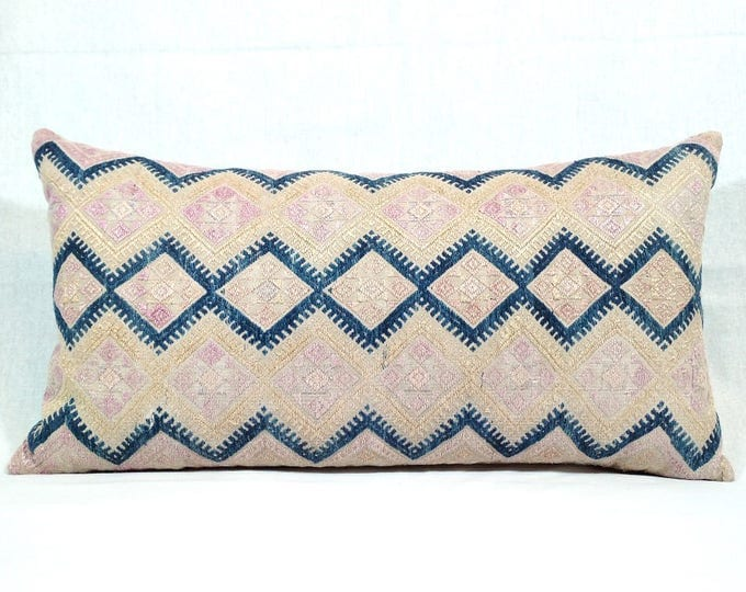 20% OFF SALE Vintage Chinese Wedding Blanket Pillow Cover / Boho Pink Tan Indigo Miao Dowry Textile / Handwoven Lumbar Cushion Cover