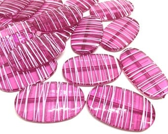 XL Dark Pink Painted 45mm beads, chunky jewelry, wire bangle, jewelry making, pink large Beads, magenta beads, large beads, pink necklace