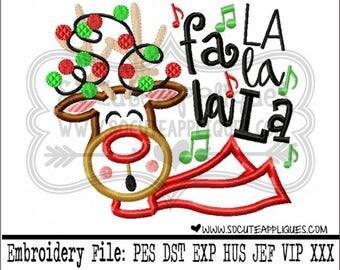Christmas Embroidery design, Rudolph fa La la LA la, Reindeer saying, embroidery saying, socuteappliques, Christmas embroidery, Naughty list