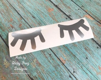 Sleeping Eyes Decal for Cars, YETI Cups, MacBooks, Laptops, Tablets and more!     Classy, Preppy Decal for Women!