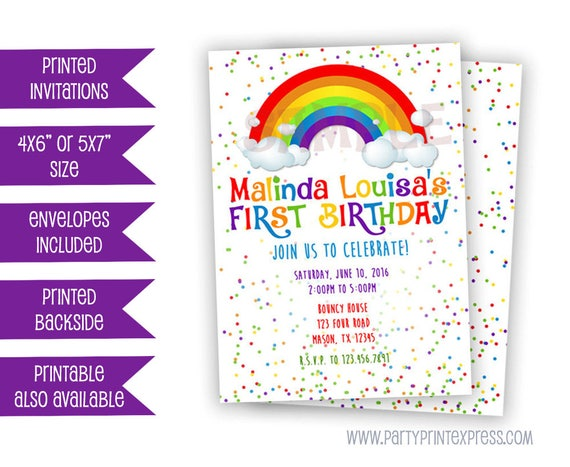 Rainbow confetti birthday invitation rainbow invitation rainbow il570xn filmwisefo