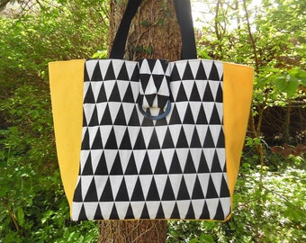 Tote fabric and yellow graphic