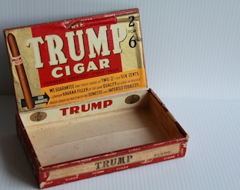 The Trump Cigar  2 for 6 Cents Wood Box Circa 1940's /50s