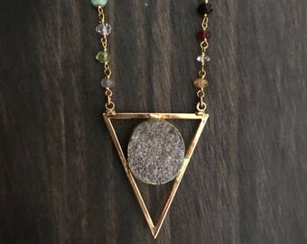 Gold Triangle Necklace // Druzy Triangle Necklace // Crystal Triangle Necklace