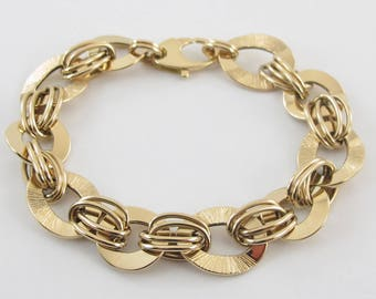 18k Yellow Gold Rolo And O Link Bracelet 7 3/4 Inches 11.8 grams
