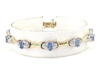 14k Yellow Gold Diamond And Tanzanite Tennis Bracelet 7 1/4 Inches 3.00 carats