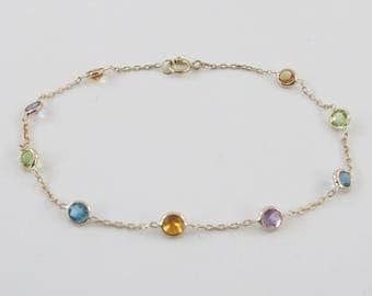 14K Yellow Gold Multi Color Gemstones Station Bracelet By The Yard 7 Inches