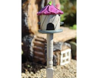 Fairy Garden  - Hollyhock Birdhouse - Miniature