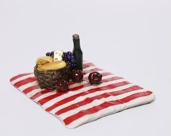 Fairy Garden  - Picnic Blanket With Food - Miniature