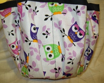 Owls  assortment in Purple and lime and pink Cloth Bingo Bag