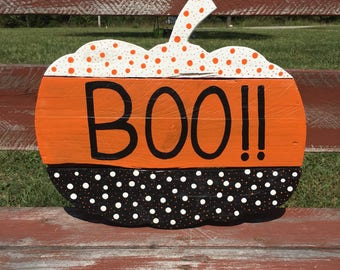 Pumpkin Door Hanger - Halloween Wood Sign - Boo Pumpkin - Halloween Decor - Pumpkin Door Decor - Halloween Sign - Wooden Pumpkin