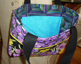 Quilted tote bag Floral market bag Gift for her Cotton purse