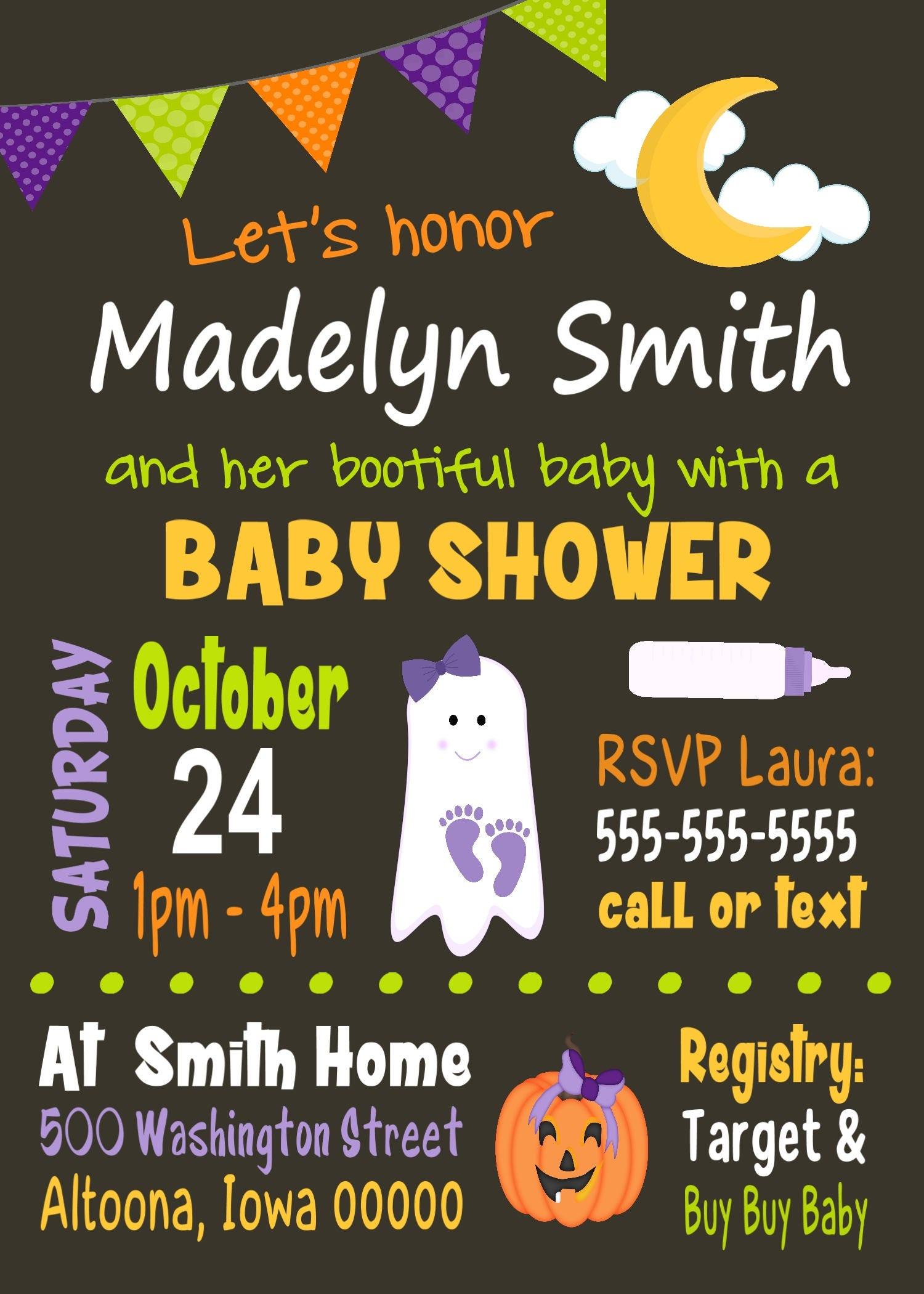 Custom Halloween Baby Shower Invitation Girl [E10261624441732319M ...