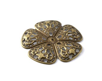 48 mm bronze filigree flower color print / ES011