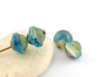 4 blue white PT0090 Bohemian glass beads