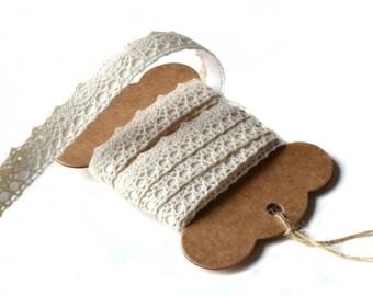 Adhesive ecru cotton lace